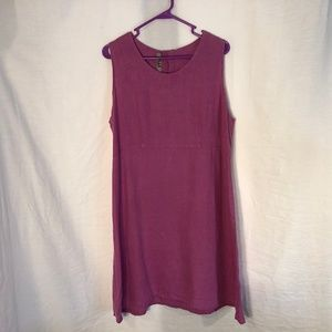 FLAX Medium Dress Linen Purple Sleeveless